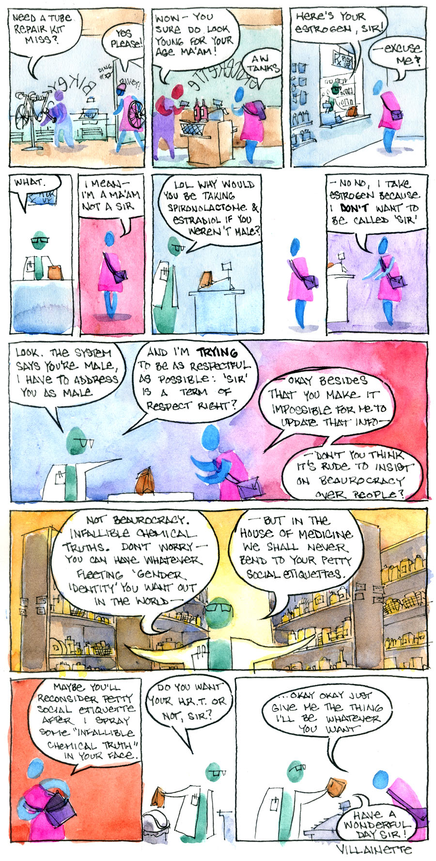 a geniusly witty comic about gender, rendered in virtuosic watercolor, but lacking an image description